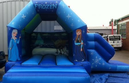 Frozen bouncy castle and slide combo